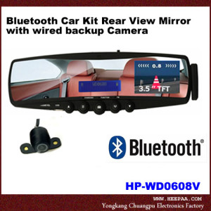 Bluetooth-Car-Kit-Rear-View-Mirror-With-Wired-Backup-Camera-HP-kansas-city